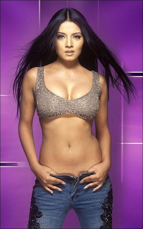 celina jaitley Wearing a pink and purple corset, Camerella even has matching panties to go ...