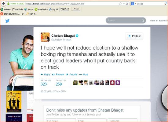 Chetan Bhagat's Tweet