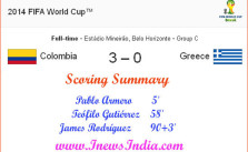 Colombia Vs. Greece Summary