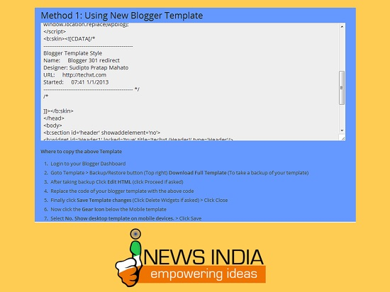 Steps for Using New Blogger Template