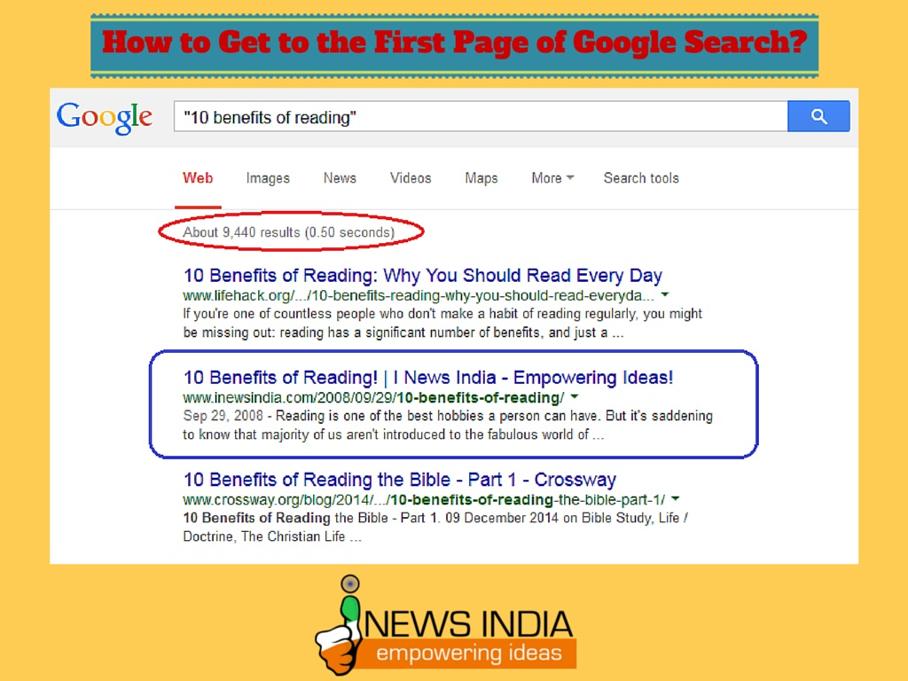 how to get to the first page of google search i news india